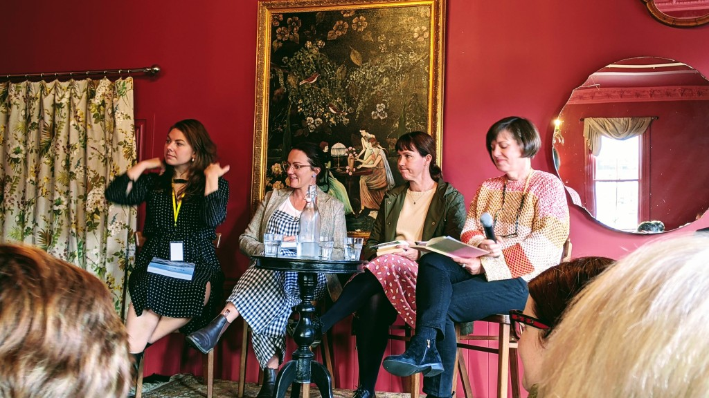 Author panel discussion at the Royal Hotel, Featherston, with Catherine Robertson, Rachel Kerr, Philippa Cameron, and Lucy Revill.