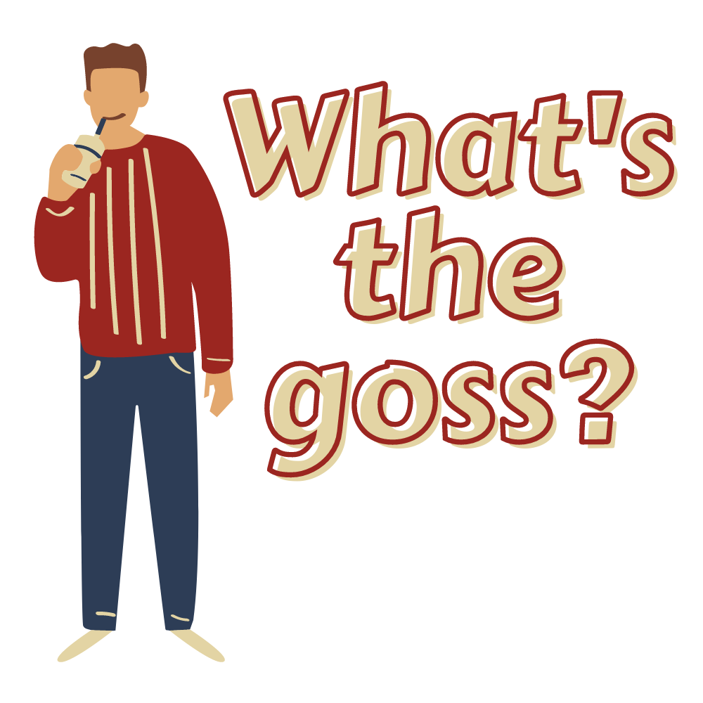 What's the goss? Man drinking juice