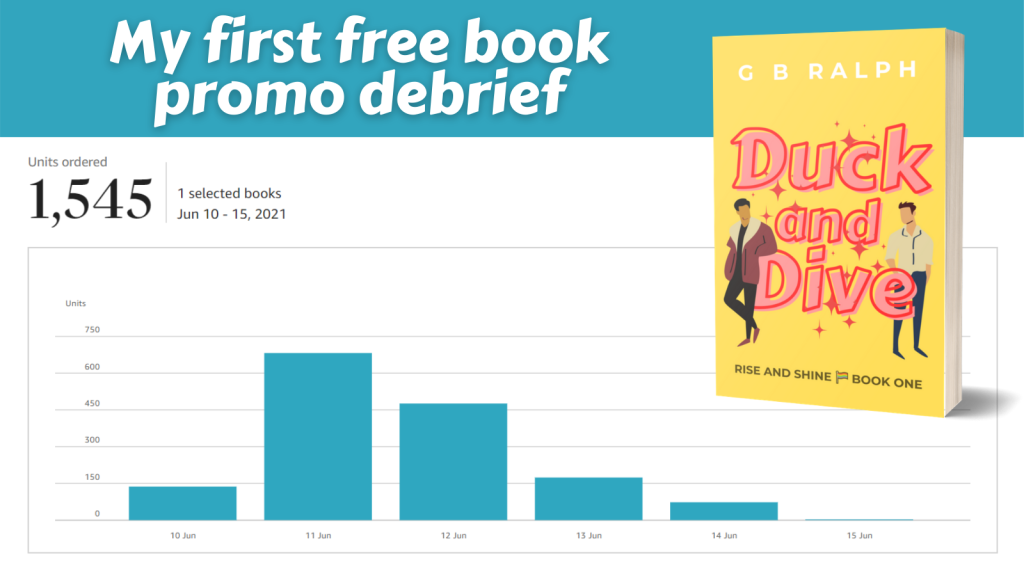 My first free book promo debrief with orders chart, Duck and Dive book cover