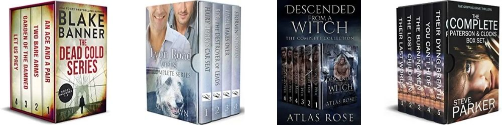 Examples of ebook box sets on Amazon, dressed up to look like physical box sets so readers know at a glance that they're getting a bundle!