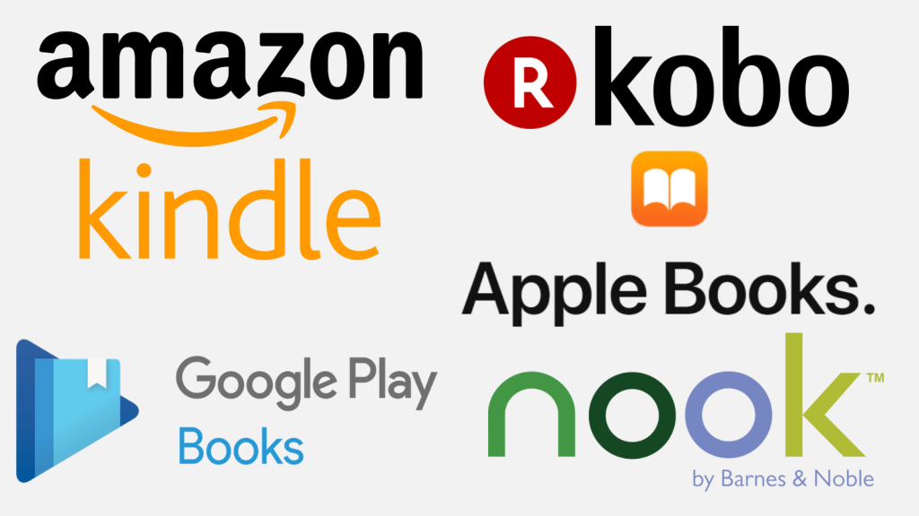 Ebook retailer logos (Amazon Kindle, Kobo, Apple Books, Google Play Books, Nook by Barnes and Noble)