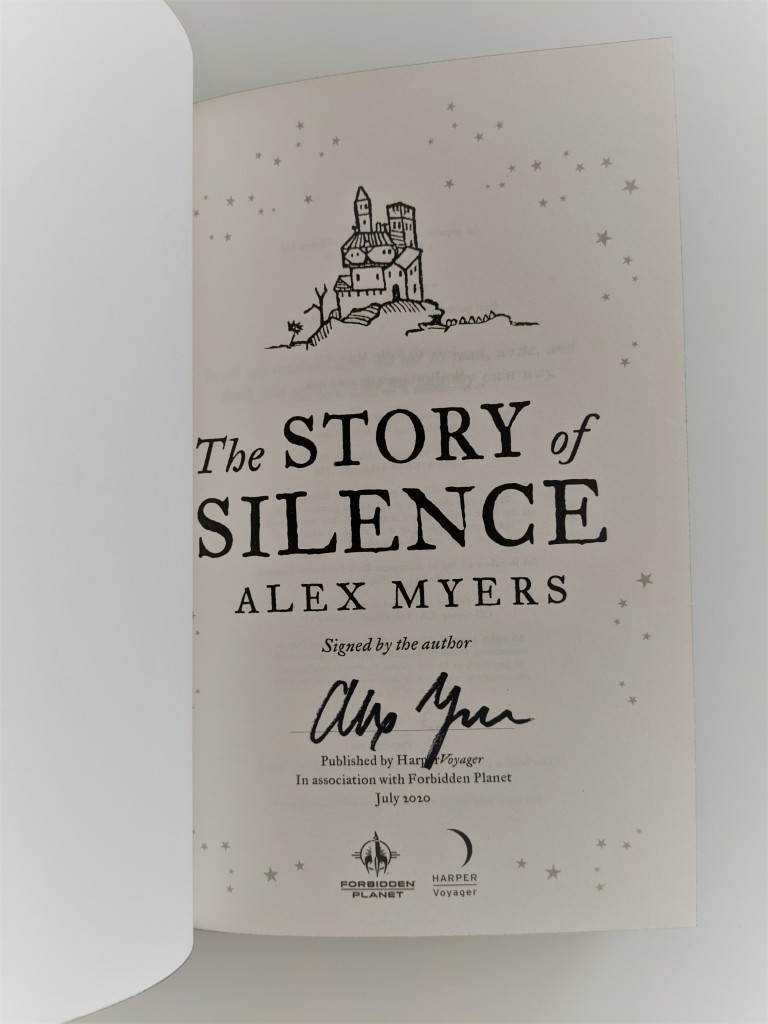 The Story of Silence by Alex Myers - author signature page (Forbidden Planet edition)