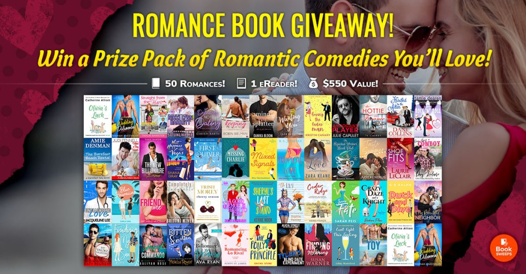 Romance Book Giveaway graphic with 50 romantic comedy book covers