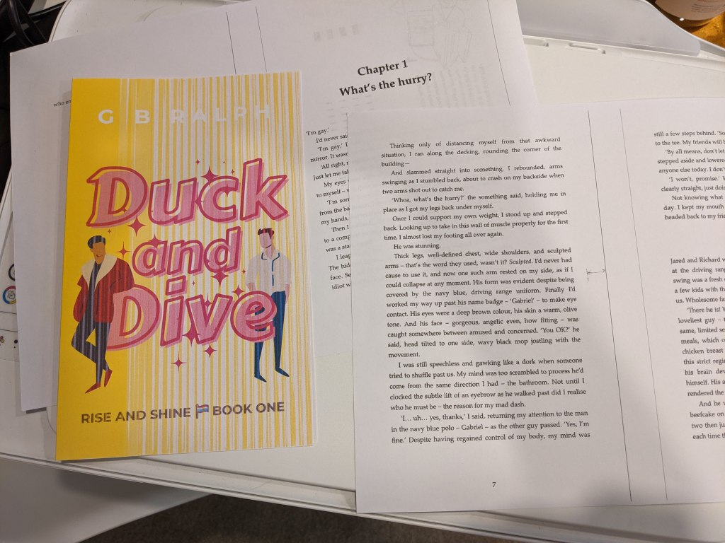 Duck and Dive paperback mockup printout on home printer. Front cover and internal text.