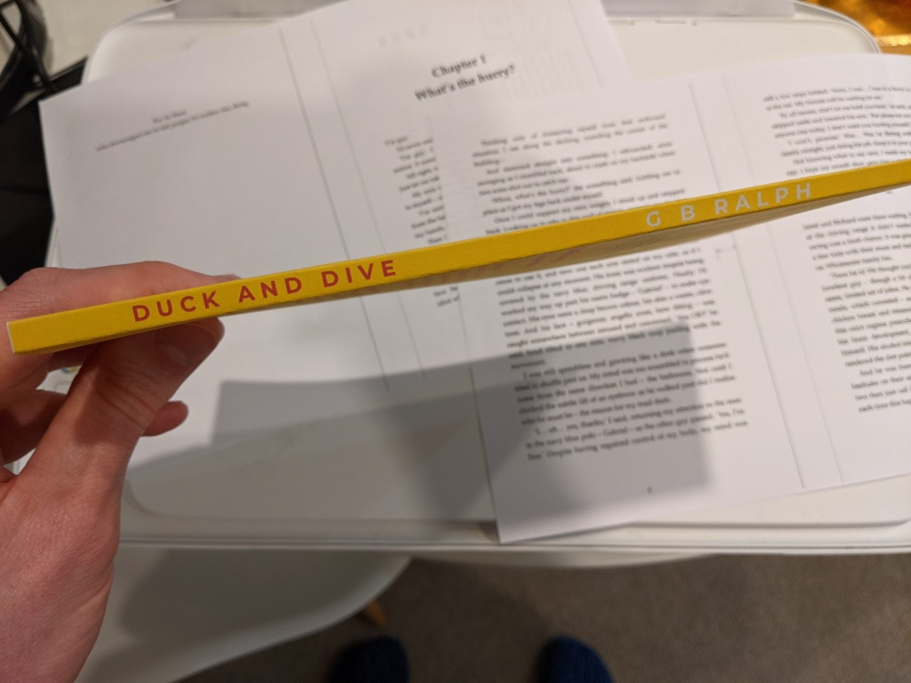 Duck and Dive paperback mockup printout on home printer. Spine.