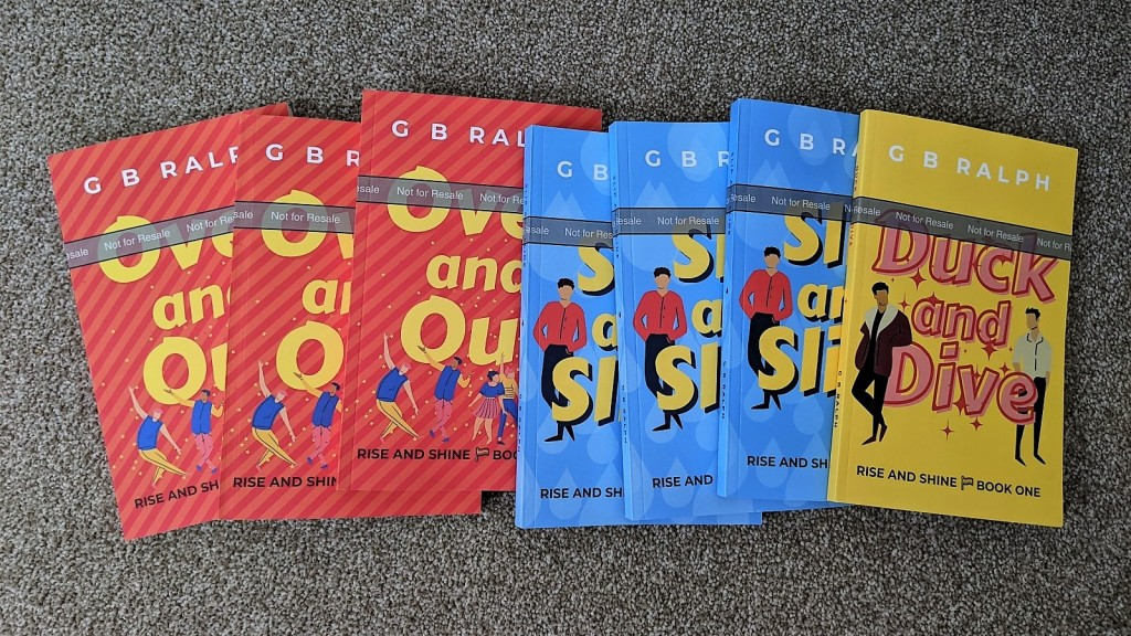 Paperback author proofs of Duck and Dive, Slip and Slide, Over and Out by G B Ralph